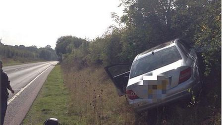 The damage following a collision on the A602 at Watton-at-Stone. Photo by BCH Road Policing via Twit