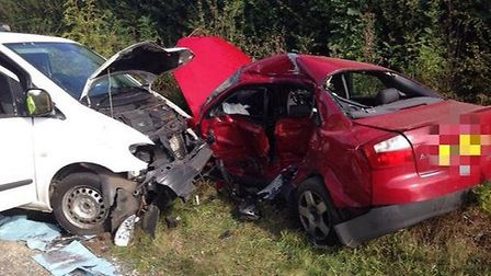 The damage following a collision on the A602 at Watton-at-Stone. Photo by BCH Road Policing