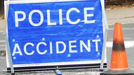 A car was facing the wrong way following the crash on the A505