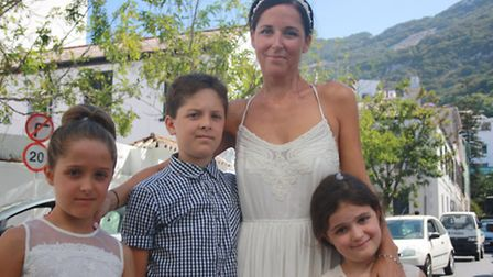 Anne Aurousseau with son Benjamin, 10, Eleanor, 9, and Olive, 6.