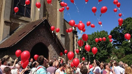 90 red balloons were released on Pentecost Sunday, June 9, on the birthday of the church.
