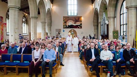 The 90th birthday service with Paul Hayes, Bishop of Hertford. Credit: Vanessa Kay