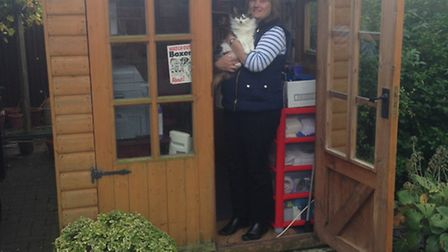RSPCA Herts East Branch administartor, Vicky Burrell, in the 'shed'.