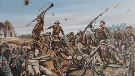 Oil paintings depicting scenes from the First World War have gone on display in Letchworth.