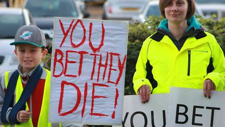 Greyhound cruelty campaign at Henlow dog track, October 2014