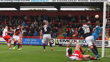 Tom Pett, scoring here for Boro last week against Luton, is preferred for home games by Boro