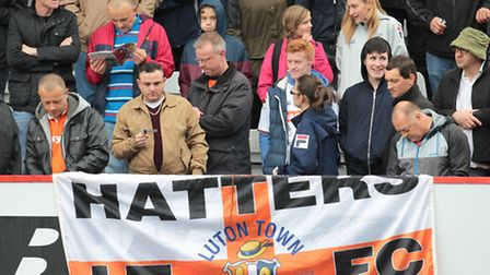 Luton Town fans ahead of the match. Photo: Harry Hubbard