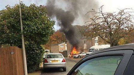 A car caught fire in Ascot Crescent, Stevenage on Thursday. Picture by Spotted in Stevenage