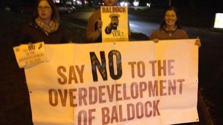 Save Rural Baldock campaigners before the Local Plan meeting.