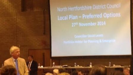Councillor David Levett, responsible for planning and enterprise at NHDC, giving his Local Plan pres