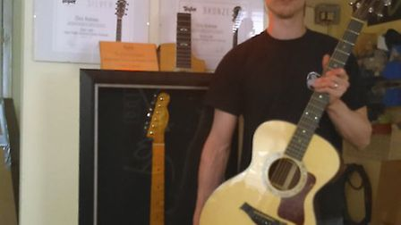 Chris is hoping to inspire schoolchildren to start strumming by donating guitars