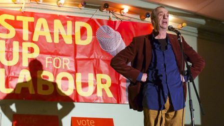 Arthur Smith at Stand Up for Labour at Westmill Community Centre in Hitchin. Photograph: Simon Maddi