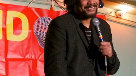 Comic Paul Ricketts at Stand Up for Labour at Westmill Community Centre. Photograph: Simon Maddison.