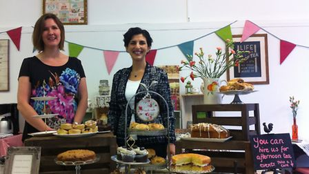 Kirsty and Sema at the pop up shop cafe