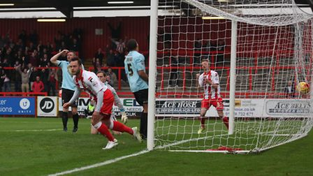 Chris Beardsley scores his and Stevenage's first goal