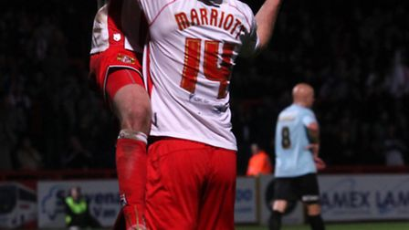Lee Barnard celebrates Stevenage's fifth goal and his second