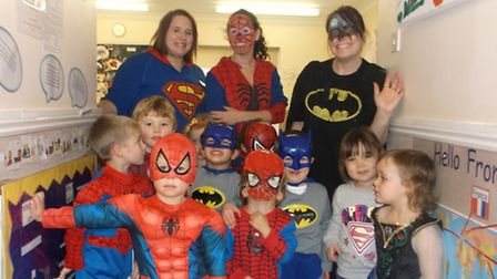 Children at Busy Bees dressed up as super heroes to raise money for Children in Need.