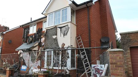 James Creighton's house on Grove Road which he decorated at Halloween to raise money for Cancer Rese