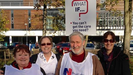 Pictured left, Anne Wells, RCN Steward at the Lister Hospital with nursing colleagues and RCN suppor