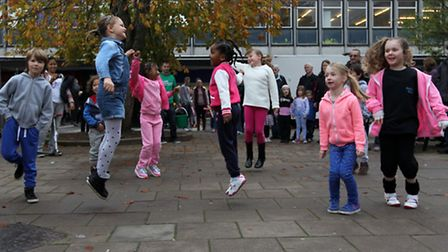 Dance group perform in Stevenage town centre