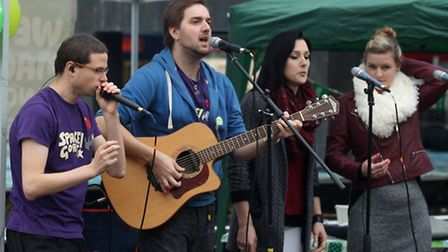 Band Space Goat perform in Stevenage town centre for Macmillan