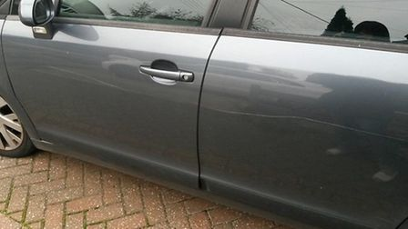 Olivia Glasson's Citreon C4 was keyed all along the passenger side when parked at Longhedges, as she