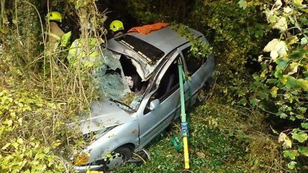 The silver VW Polo ended up in an embankment off the B655 on Thursday evening at approximately 7.30p