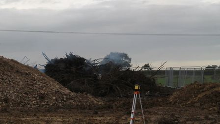 The fire on former Old Mushroom Farm, currently a building site, was still smoking 48 hours after a