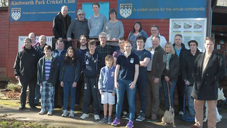 Members of Knebworth cricket club show their support for the club