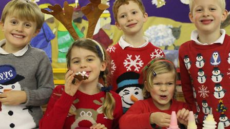 From left, Ryan Wingham, 6, Tabitha Rea, 7, Isaac Hesmondhalgh, 7, Phoebe Boyd, 6, and Matthew Rober