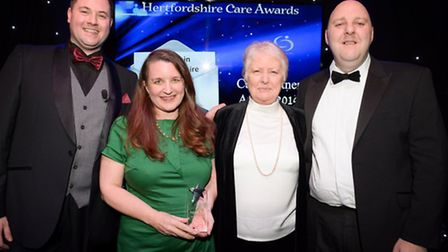 Michelle Stokes and Jenny Young from Carers in Hertfordshire with HCPA host Wesley Hughes and Iain M