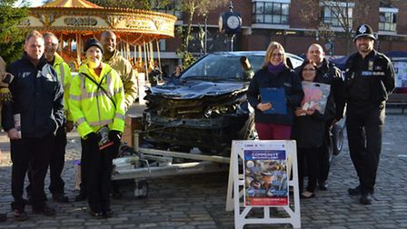 Blue Light safety event in Hitchin Market Place