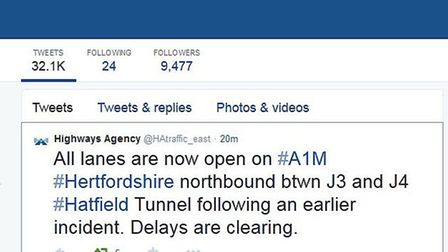 Highways Agency tweet saying the A1(M) has reopened