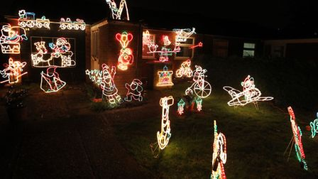Christmas lights at a house in Woolners Way, Stevenage