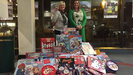 Donna Lee and Sarah Carter at Stevenage Borough Council offices donating the calendars.