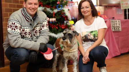 Ian Eddleman with his dog, Tilly and Lorraine Brown