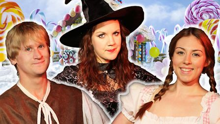 Stephen Emery, Becky Bentham and Chantelle Kemp appear in Hansel & Gretel at Market Theatre, Hitchin