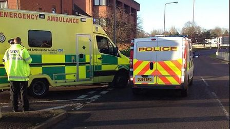 Emergency services at the scene of the crash in Trinity Road, Stevenage. Picture: Oliver Pritchard
