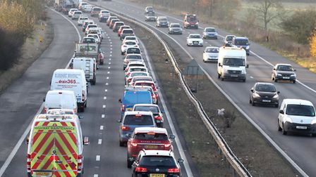 Traffic is heavy on the A1(M) heading southbound.