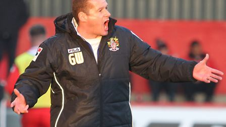 Graham Westley shouts from the sidelines