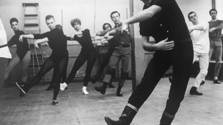 """Choreographer Bob Fosse leads dancers for the musical """"Pleasures and Palaces"""" he directed in 1965."""