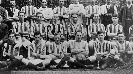 Frank Dymoke played for Stevenage Town Football Club and in this team photograph you can see him in