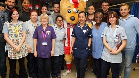 Stevenage FC players during their annual visit to the Bluebell Ward at Lister Hospital.