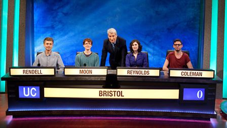Left, Lewis Rendell, 21, from Newport, with his Bristol team mates and presenter Jeremy Paxman.