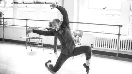American dancer and choreographer Bob Fosse (1927 - 1987) works out routines alone at the Broadway A