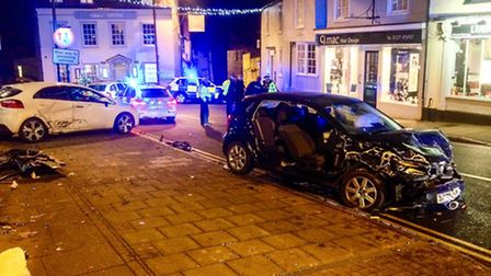 Police were called to a three-vehicle collision in Dunmow's Market Place on Saturday evening.