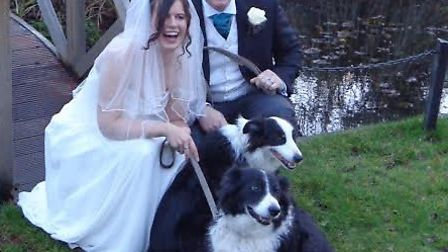 Toby and Holly Collins with dogs Billy and Honey