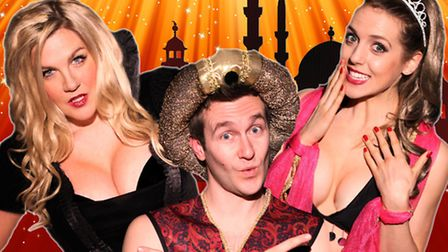 Carrie Laurence, Nick Hooton and Pip Johnson appear in the adult panto at the Market Theatre, Hitchi