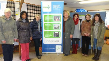 Charmaine Ball (second left) and other volunteers at the Hitchin Foodbank