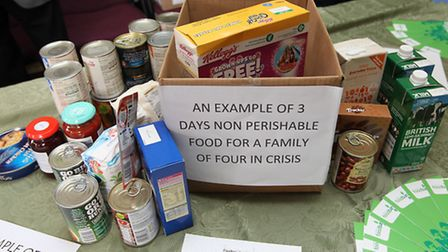 An example of the amount of food a family of four would need for three days.